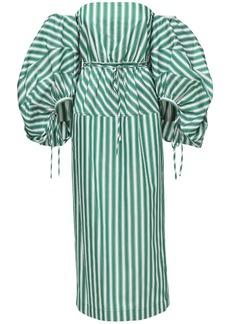 Rosie Assoulin Cotton Cocktail Dress W/ Puff Sleeves