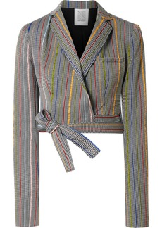 Rosie Assoulin Cropped Wool And Silk-blend Jacquard Wrap Blazer