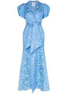 Rosie Assoulin draped floral-jacquard maxi dress