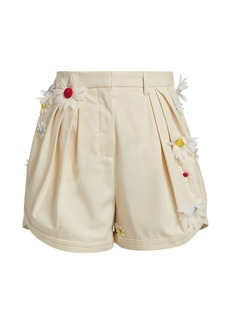 Rosie Assoulin Easy Pleated Floral Shorts