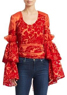 Rosie Assoulin Flocked Silk Organza Top