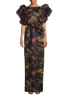 Rosie Assoulin Floral Ruffled Silk Gown