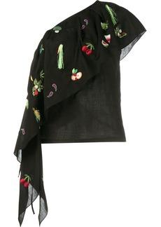Rosie Assoulin fruit embroidered one shoulder top