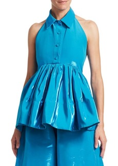 Rosie Assoulin Halterneck Sleeveless Peplum Top