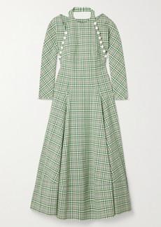 Rosie Assoulin Hold My Bolero Convertible Cutout Checked Cotton-blend Maxi Dress