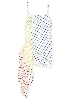 Rosie Assoulin Knotted Polka-dot Flocked Cotton-blend Poplin Camisole