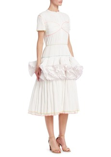 Rosie Assoulin Marshmallow Pleated Fit-And-Flare Dress
