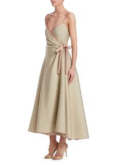 Rosie Assoulin Metallic Side-Tie Wrap Dress