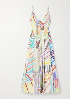 Rosie Assoulin Million Pleats Printed Cotton-poplin Maxi Dress