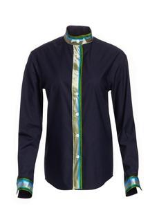 Rosie Assoulin Multicolored Striped Trim Button-Down Shirt