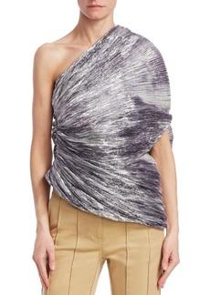 Rosie Assoulin One-Shoulder Pleated Metallic Cocoon Top