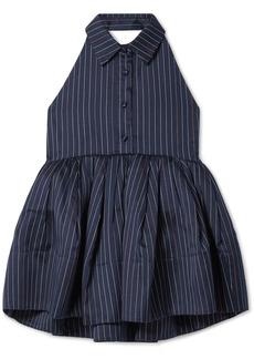 Rosie Assoulin Open-back Pinstriped Cotton-blend Peplum Top