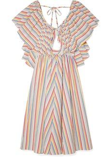 Rosie Assoulin Open-back ruffled striped seersucker dress