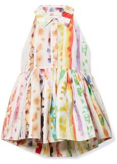Rosie Assoulin Open-back Printed Cotton-blend Poplin Peplum Top