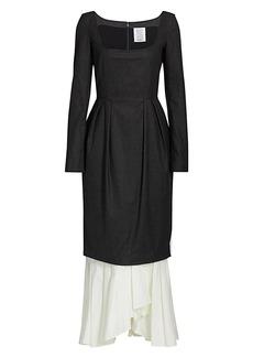 Rosie Assoulin Peeking Hem Wool Long Dress