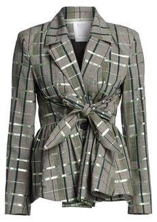 Rosie Assoulin Plaid Tie-Front Peplum Wool-Blend Blazer