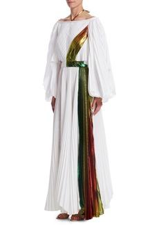 Rosie Assoulin Pleated Tie Neck Maxi Dress