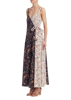 Rosie Assoulin Printed Side-Tie Wrap Maxi Dress