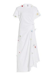 Rosie Assoulin - Women's Floral-Accented Cotton T-Shirt Dress - White - Moda Operandi