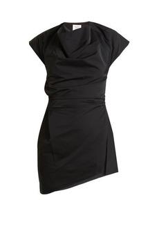 Rosie Assoulin Asymmetric draped-front taffeta top