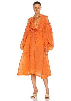 Rosie Assoulin Cold Shoulder Gathered Shirt Dress