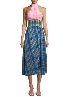 Rosie Assoulin Colorblock Plaid Halter Midi Dress