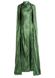 Rosie Assoulin El Capo detachable-cape satin gown
