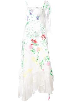 Rosie Assoulin floral print layered asymmetric slip dress - White