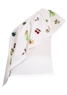 Rosie Assoulin One-shoulder embroidered cotton top