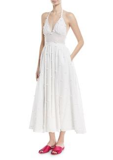 Rosie Assoulin Rosette Voile Halter Midi Dress