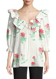 Rosie Assoulin Say it with Flowers Ruffled Blouse