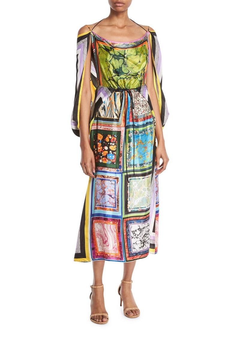 46af75b2c Rosie Assoulin Scoop-Neck Cape-Back Marble-Print Scarf Viscose Twill Dress