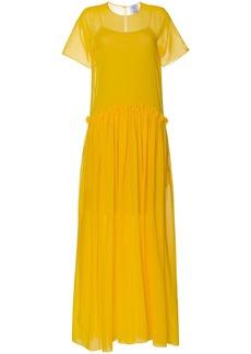 Rosie Assoulin semi sheer ruffle long silk dress - Yellow & Orange