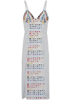 Rosie Assoulin Woman Bead-embellished Striped Cotton-poplin Midi Slip Dress White