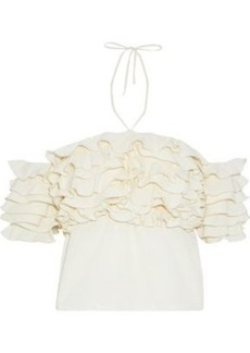 Rosie Assoulin Woman Cha Cha Off-the-shoulder Ruffled Voile Halterneck Top Cream