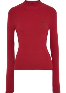 Rosie Assoulin Woman Embroidered Ribbed-knit Sweater Crimson