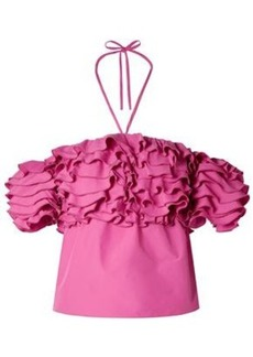 Rosie Assoulin Woman Off-the-shoulder Cropped Ruffled Poplin Top Pink