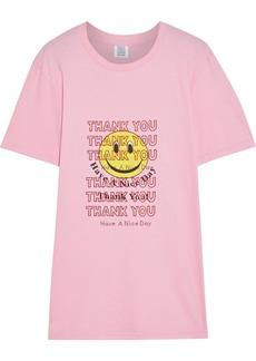 Rosie Assoulin Woman Crystal-embellished Printed Cotton-jersey T-shirt Bubblegum