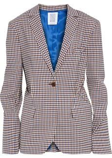 Rosie Assoulin Woman Ruched Gingham Wool-blend Blazer Brown