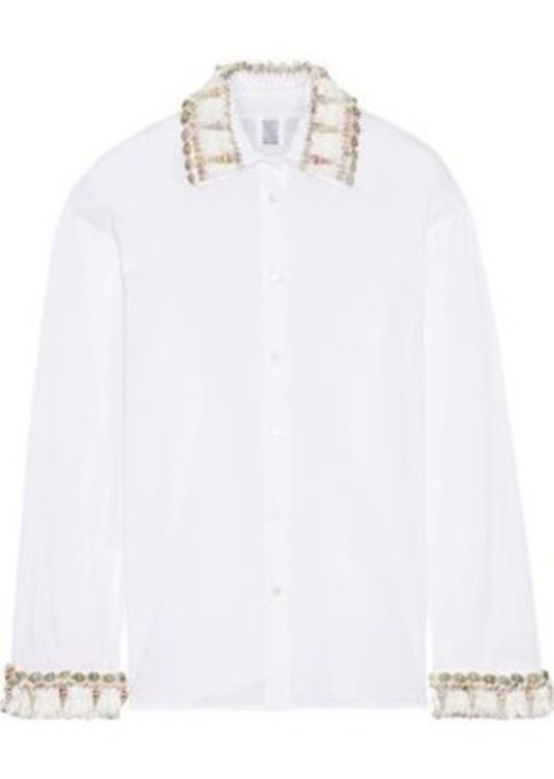 Rosie Assoulin Woman Shell-embellished Cotton-voile Shirt White