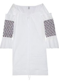 Rosie Assoulin Woman Smocked Embellished Cotton-voile Tunic White