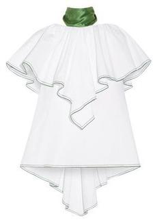 Rosie Assoulin Woman Wedge One-shoulder Ruffled Cotton-poplin Top White