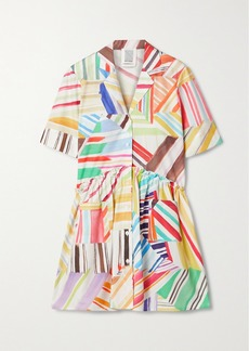 Rosie Assoulin Ruffled Printed Cotton-poplin Mini Shirt Dress