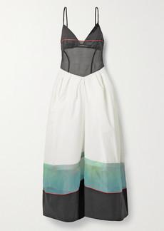 Rosie Assoulin Striped Cotton-poplin And Organza Maxi Dress