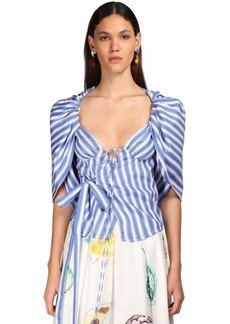 Rosie Assoulin Striped Cotton Wrap Top