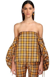 Rosie Assoulin Tartan Silk Blend Top