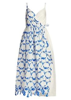 Rosie Assoulin That's A Wrap! Bead-Print Dress