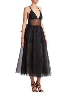 Rosie Assoulin Tulle Shimmering Midi Dress