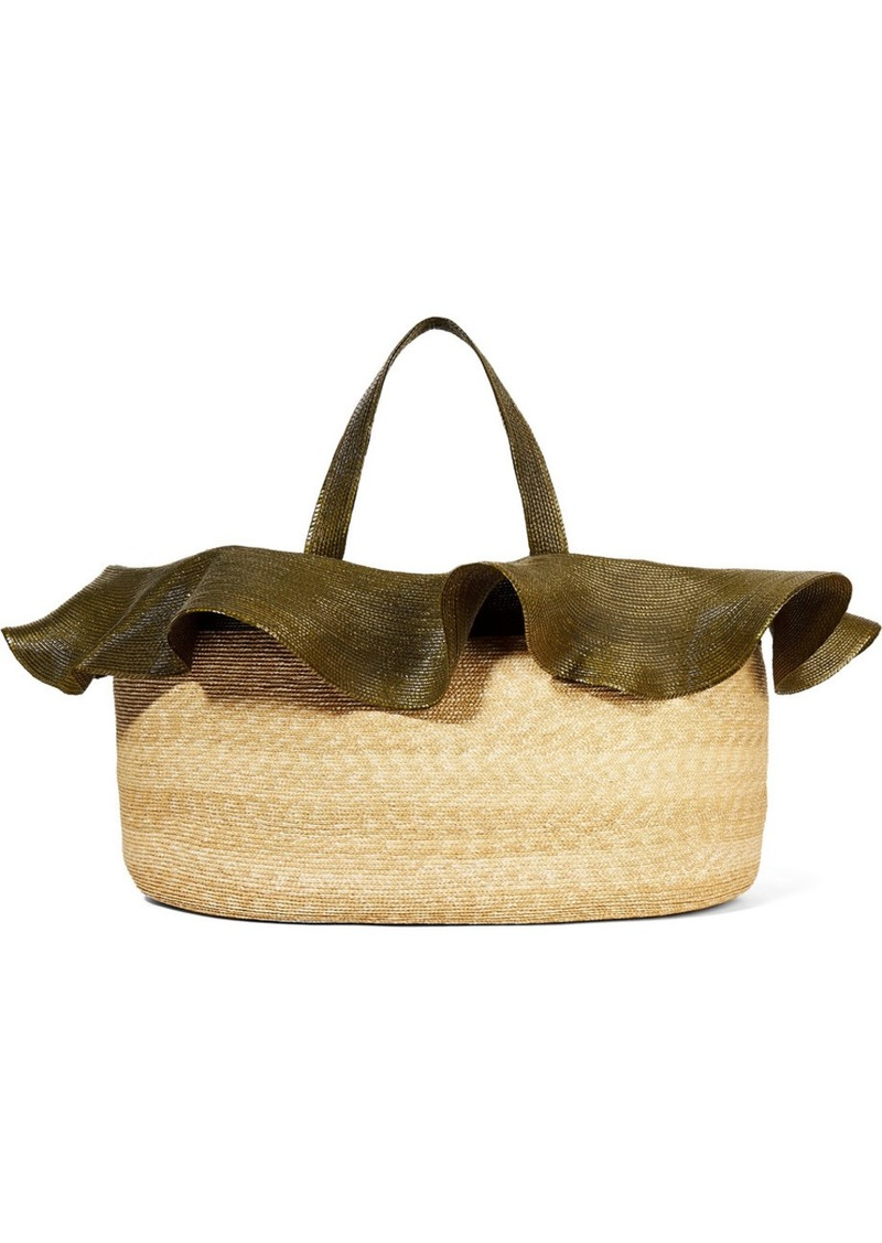 Two-tone Straw Tote
