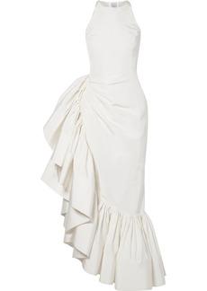 Rosie Assoulin Whoopsy Daisy Asymmetric Ruffled Silk-charmeuse Gown